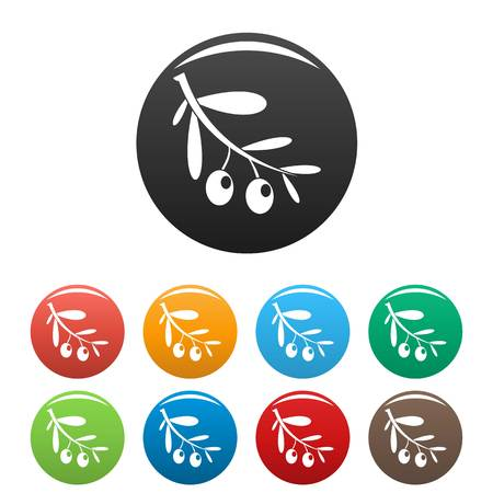Branch of olives icons set color