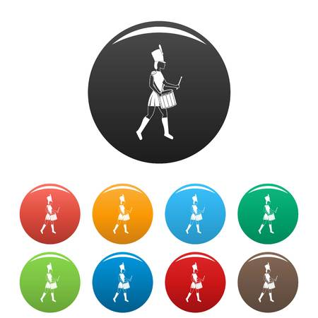 Woman drummer icons set 9 color vector isolated on white for any design Illustration