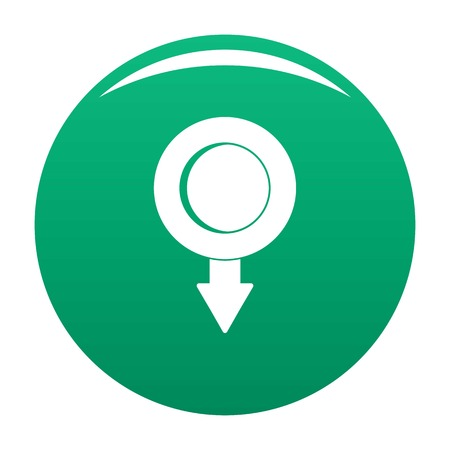 Pushpin icon vector green Illustration