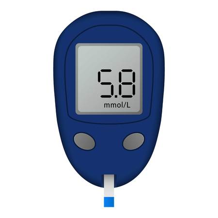 Blood glucose meter icon. Realistic illustration of blood glucose meter vector icon for web design