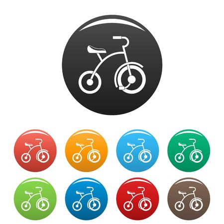 Girl tricycle icons set 9 color vector isolated on white for any design Illustration