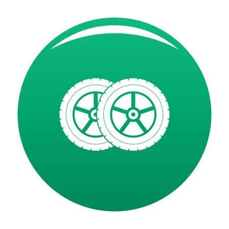 Car tyre icon vector green