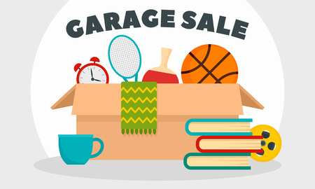 Garage sale concept banner, flat style