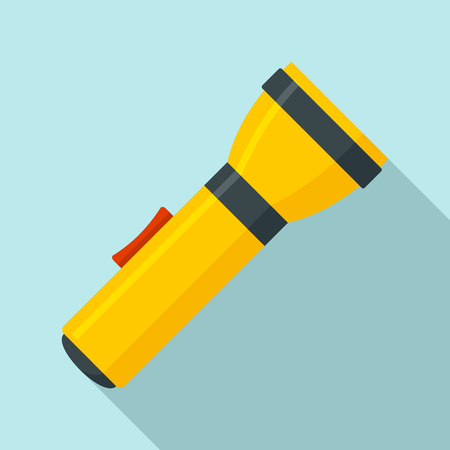 Yellow flashlight icon, flat style Imagens