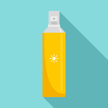 Sun block spray icon, flat style