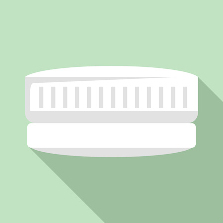 Contact len case icon, flat style