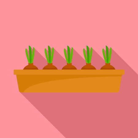 Onion in ground pot icon, flat style