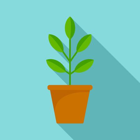 Pepper plant pot icon, flat style Stock Photo