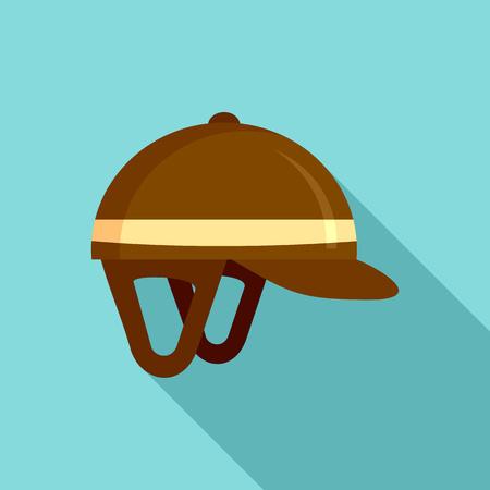 Horseback riding helmet icon, flat style Stock Photo