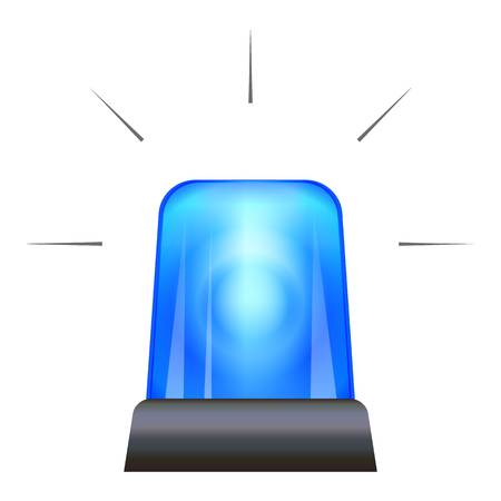Blue police flasher icon, cartoon style