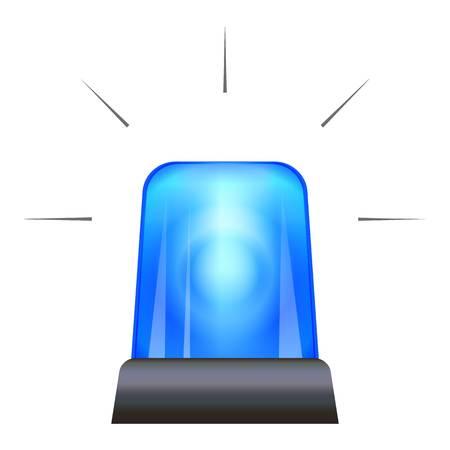 Blue police flasher icon, cartoon style