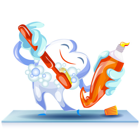 Happy cleaning tooth concept background, cartoon style