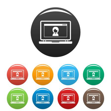 Laptop video chat icons set 9 color vector isolated on white for any design