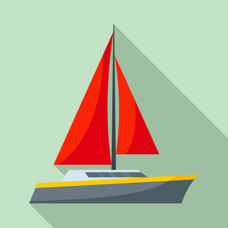 Red sail yacht icon. Flat illustration of red sail yacht vector icon for web design