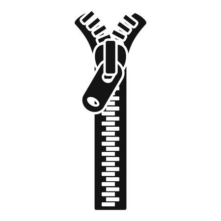 Symbol für den Reißverschluss der Jacke. Einfache Illustration der Vektorikone des Jackenreißverschlusses für das Webdesign lokalisiert auf weißem Hintergrund