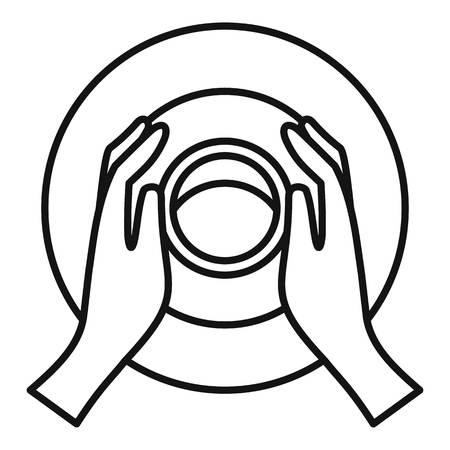 Hände-Töpferrad-Symbol. Umrisse Hände Töpferscheibe Vektor-Symbol für Webdesign isoliert auf weißem Hintergrund