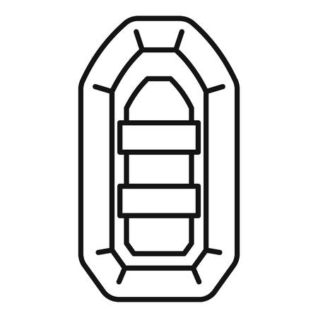 Inflatable boat icon. Outline inflatable boat vector icon for web design isolated on white background