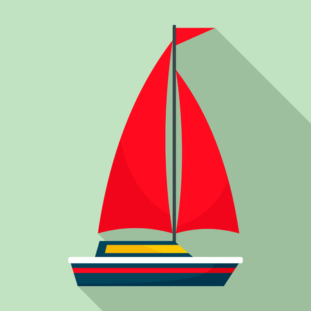 Red sail boat icon. Flat illustration of red sail boat vector icon for web design