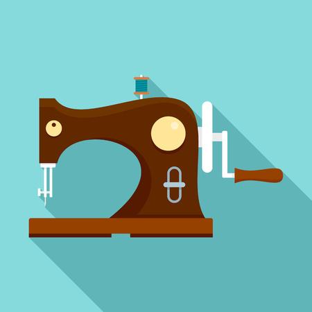 Icona della macchina da cucire in legno. Illustrazione piana di legno macchina da cucire icona vettoriali per il web design