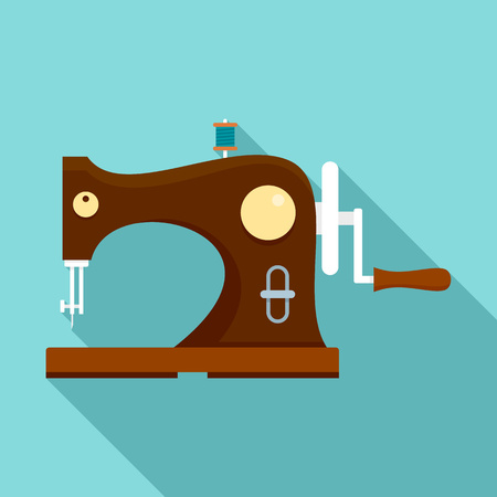 Wood sew machine icon. Flat illustration of wood sew machine vector icon for web design