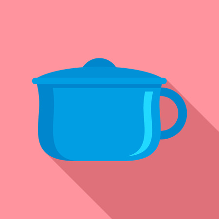 Blue baby potty icon. Flat illustration of blue baby potty vector icon for web design