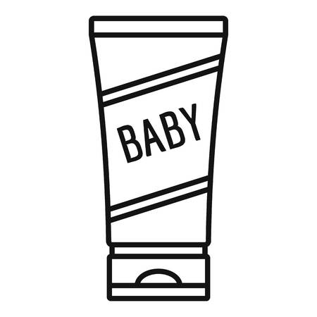 Baby cream tube icon, outline style
