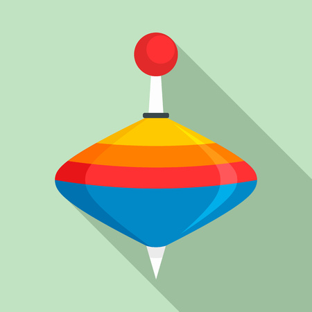 Spinning top toy icon, flat style