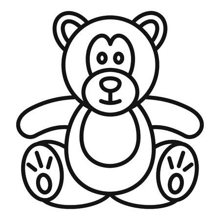 Teddy bear icon. Outline teddy bear vector icon for web design isolated on white background