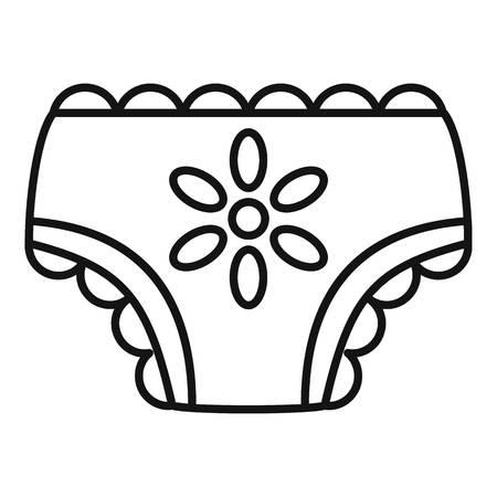Icono de pañal de bebé niña, estilo de contorno Ilustración de vector