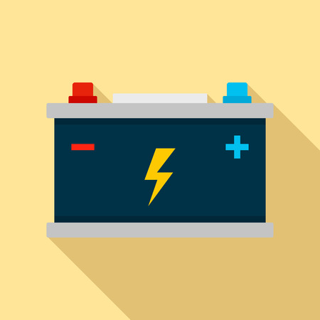 Car battery icon. Flat illustration of car battery vector icon for web design Vettoriali