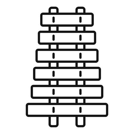 Toy xylophone icon, outline style