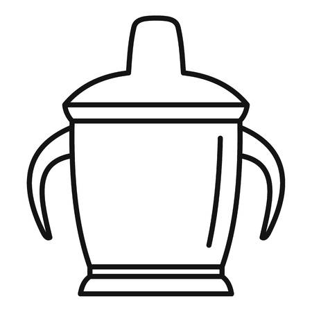 Sippy cup icon. Outline sippy cup vector icon for web design isolated on white background