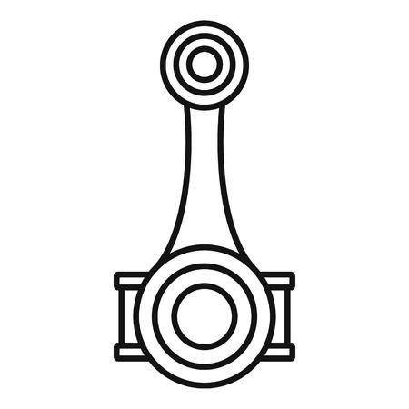 Icono del eje de la biela del pistón. Esquema del eje de la biela del pistón icono vectoriales para diseño web aislado sobre fondo blanco. Ilustración de vector