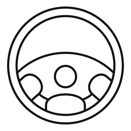 Car steering wheel icon, outline style Illustration