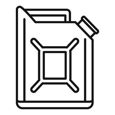 Auto-Kraftstoffkanister-Symbol. Umreißen Sie das Vektorsymbol des Autokraftstoffkanisters für das Webdesign, das auf weißem Hintergrund lokalisiert wird