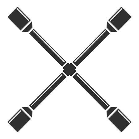 Cross wheel key icon, simple style