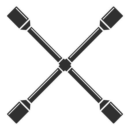 Kreuzradschlüsselsymbol, einfacher Stil Vektorgrafik