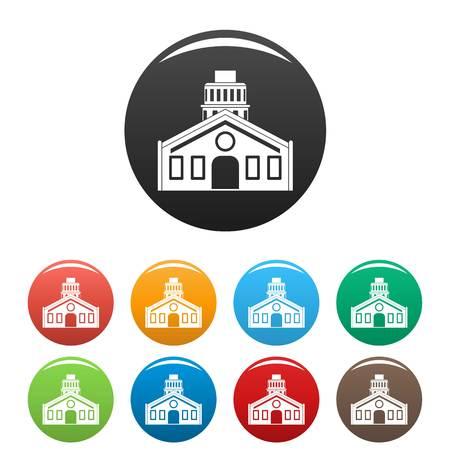 Chapel icons set color Illustration