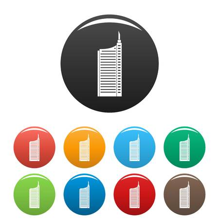 Sky scraper icons set 9 color vector isolated on white for any design