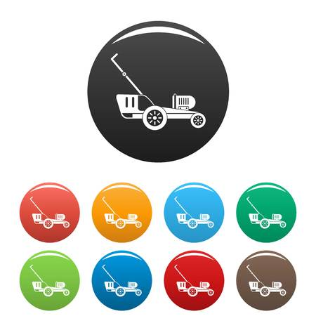 Grass cutter icons set 9 color vector isolated on white for any design