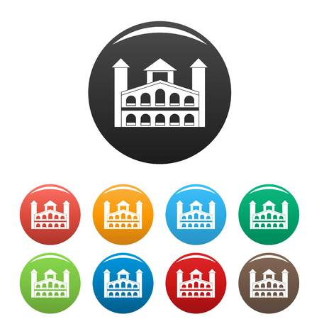 Historical building icons set 9 color vector isolated on white for any design