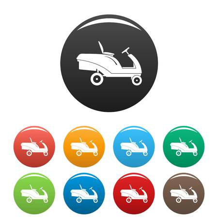 Grass cut truck icons set 9 color vector isolated on white for any design