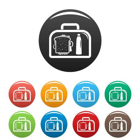 Lunch sandwich box icons set color