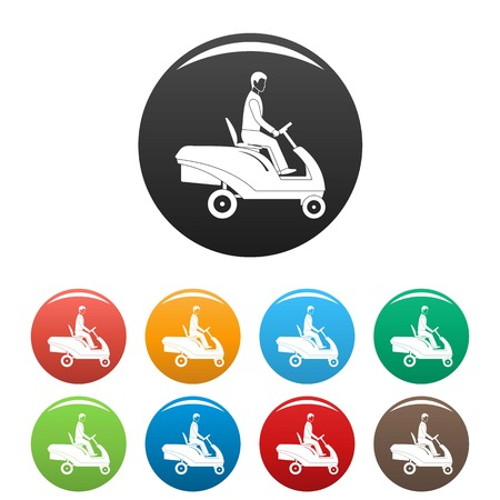Man at grass machine icons set 9 color vector isolated on white for any design