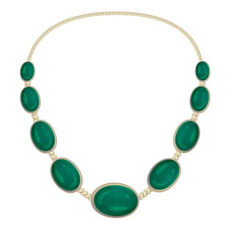 Green gemstone necklace icon. Cartoon of green gemstone necklace vector icon for web design isolated on white background
