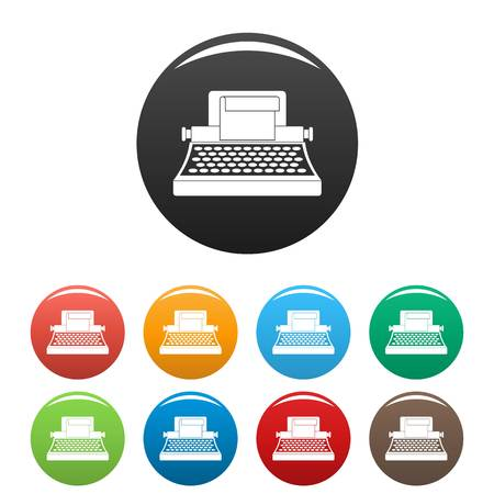 Retro typewriter icons set 9 color vector isolated on white for any design Illustration
