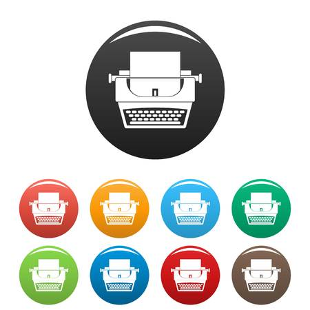 Soviet typewriter icons set 9 color vector isolated on white for any design