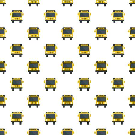 Yellow school mini bus icon, flat style