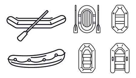 Rubber inflatable boat icon set, outline style