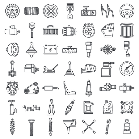 Maintenance car part icon set, outline style Stock Photo